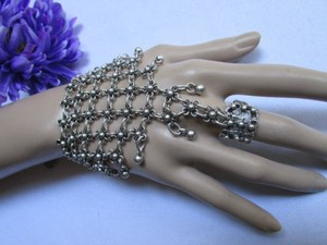 Women Bracelet Fashion Slave Hand Chain Silver Metal Wide Multy Flowers
