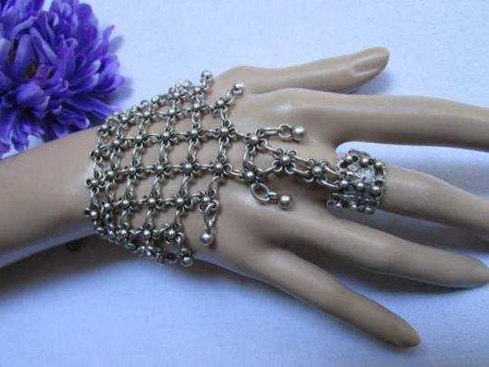 Other Women Bracelet Fashion Slave Hand Chain Silver Metal Wide Multy Flowers
