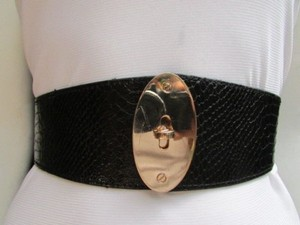 Other Women Waist Hip Black Elastic Fashion Belt Gold Oval Buckle 26-35