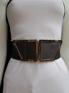 Women Waist Hip Brown Elastic Fashion Belt Gold 80s Buckle 25-34