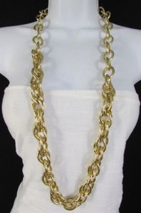 Women Gold Silver Chunky 22 Long Metal Thick Chain Links Fashion Necklace