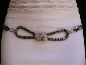 Women Hip Pewter Bow Metal Chains Links Belt Silver Rhinestones S-m-l-xl-xxl