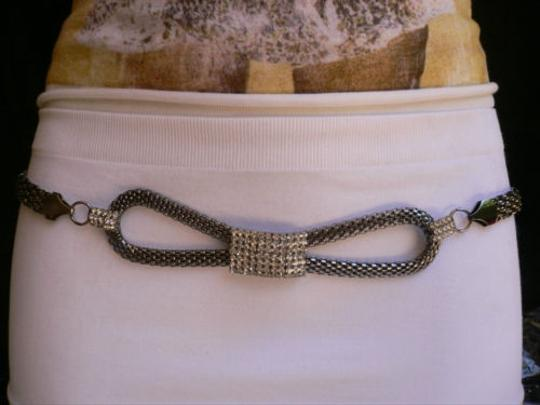 Other Women Hip Pewter Bow Metal Chains Links Belt Silver Rhinestones