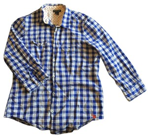 U.S. Polo Assn. Gingham Plaid Button Down Shirt Blue/White