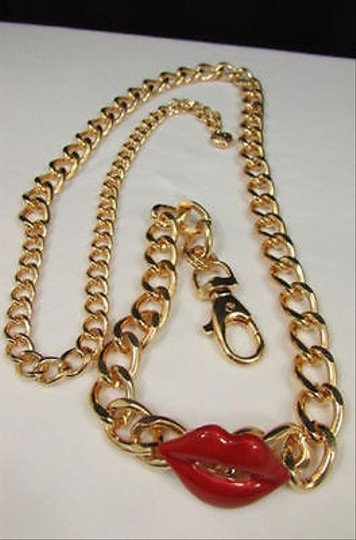 Other Women Gold Chunky Metal Chain Links Fashion Belt Red Lips Kiss 27-40
