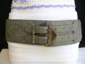 Women Belt Fashion Waist Hip Elastic Gray Wide Double Buckles Fits