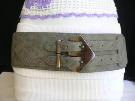Other Women Belt Fashion Waist Hip Elastic Gray Wide Double Buckles