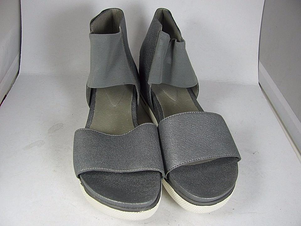 159b1ad1685 Eileen Fisher Silver New Spree Leather  Rubber Sport Flat Sandals Size US 7  Regular (M