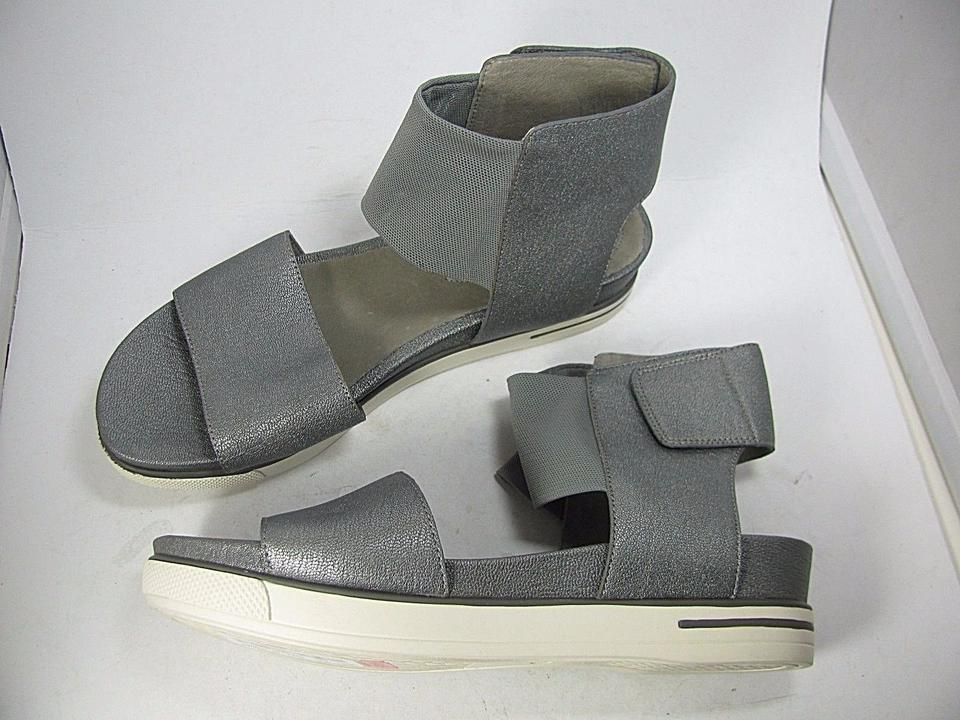 cb11701e973 Eileen Fisher Silver New Spree Leather  Rubber Sport Flat Sandals ...