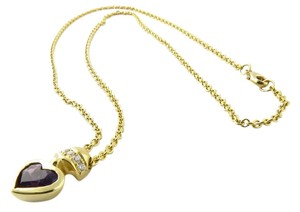 Movado Movado 18K Yellow Gold Diamond and Amethyst Heart Necklace