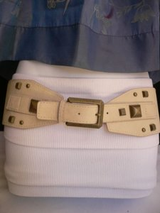 Other Women Belt Fashion Hip Elastic Cream Wide Gold Buckle Studs 27-37 S-m-l