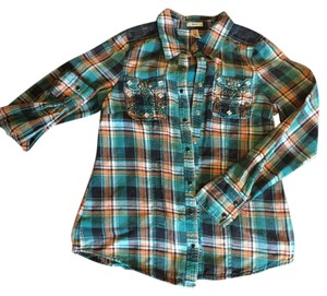BKE Flannel Snaps Fall Colors Button Down Shirt Multi/Green/Orange