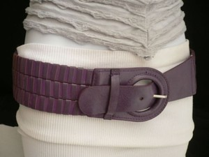 Women Belt Fashion Hip Elastic Faux Leather Stretch Purple Circle Buckle Fun