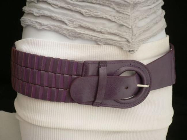 Alwaystyle4you Purples Women Elastic Faux Leather Stretch Circle Buckle Fun Belt Alwaystyle4you Purples Women Elastic Faux Leather Stretch Circle Buckle Fun Belt Image 1