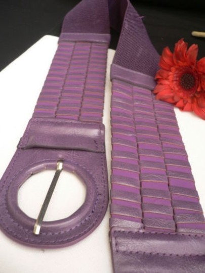 Other Women Belt Elastic Faux Leather Stretch Purple Circle Buckle Fun