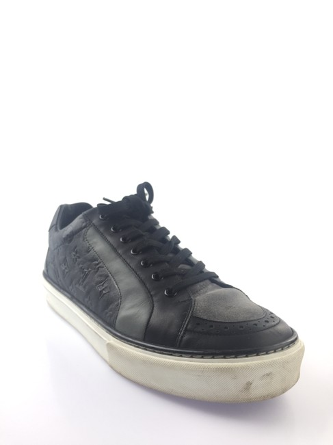 Item - Black/Grey Leather/Suede Sneakers Shoes