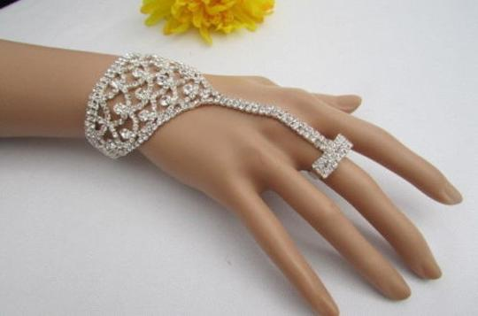 Other Women Bracelet Shiny Silver Half Hand Chain Cover Rhinesones Jewelry