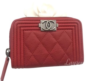 Chanel Brand New Red Boy Caviar Coin Purse Card Holder Wallet
