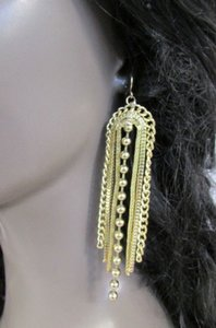 Women Earrings Set Fashion Gold Metal Hook Chain Fringes Long Beads Dangle