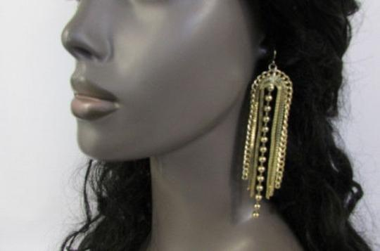 Other Women Earrings Set Metal Hook Chain Fringes Long Beads Dangle