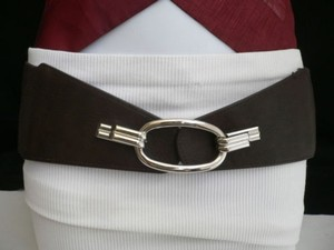 Women Belt Fashion Waist Hip Elastic Dark Brown Ring Buckle 28-36