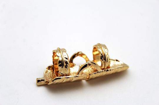 Other Women Gold Metal Ring Long Leaf Fashion Jewelry Long Finger Band