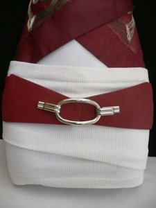 Other Women Belt Fashion Waist Hip Elastic Red Wide Silver Ring Buckle 28-36 S-l