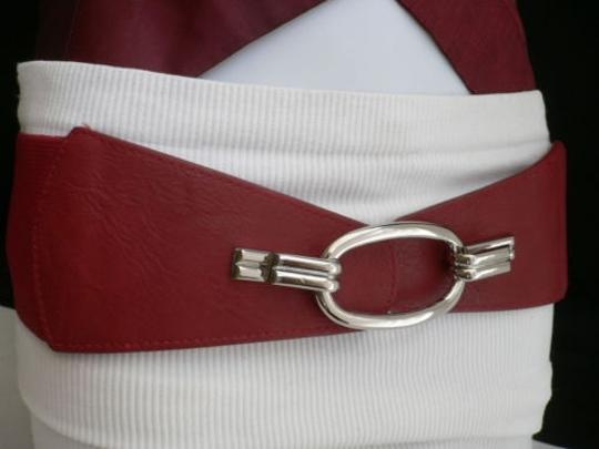 Other Women Belt Fashion Waist Hip Elastic Red Wide Silver Ring Buckle