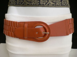 Other Women Belt Fashion Hip Elastic Faux Leather Orange Circle Buckle