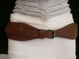 Other Women Belt Fashion Hip Waist Elastic Faux Leather Mocha Brown 27-34