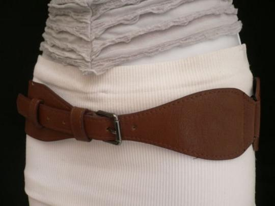 Other Women Belt Fashion Hip Waist Elastic Faux Leather Mocha Brown