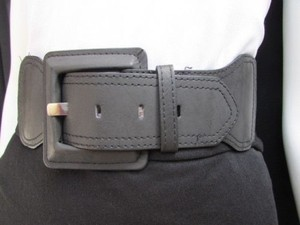 Women Waist Hip Dark Gray Elastic Fashion Belt Big Square Buckle 25-32