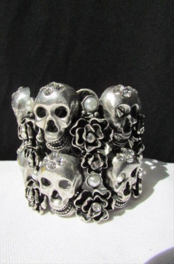 Other Women Bracelet Antique Silver Cuff Skulls Roses Jewelry Flowers Bead