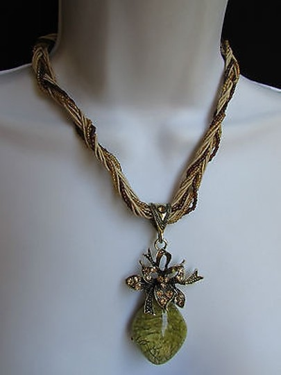Other Women Strands Fashion Necklace Big Gold Glass Pendant Flower Rhinestones 10