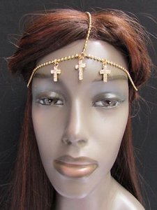 Other Women Head Metal Crosses Chain Gold Jewelry Grecian Hair Accessories Rhinestones