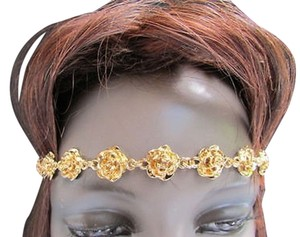 Other Women Elastic Band Forehead Fashion Head Chain Jewelry Gold Long Metal Flowers