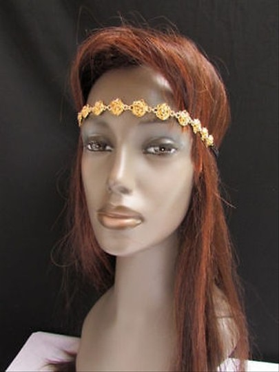 Other Women Elastic Head Chain Jewelry Gold Long Metal Flowers