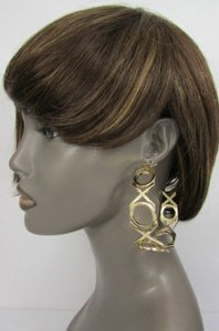 Other Women Gold Xoxo Metal Big Wide Hoops Urban Fashion Earrings Dangle Set Hook