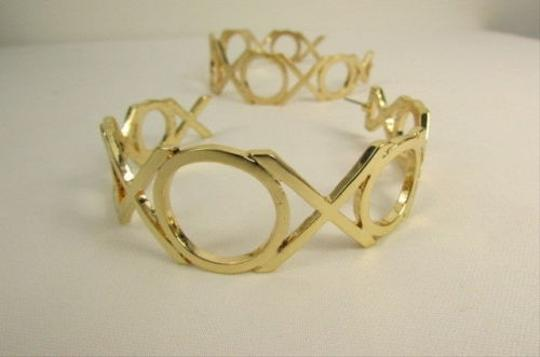 Other Women Gold Xoxo Metal Big Wide Hoops Urban Fashion Earrings