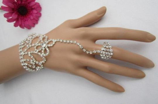 Other Women Bracelet Hand Chain Shiny Silver Top Flower Rhinesones