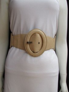 Women Waist Hip Beige Elastic Fashion Belt Big Oval Buckle 26-34