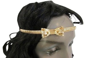 Other Women Head Chains Jewelry Fashion Black Elastic Band Forehead Gold Metal Bow
