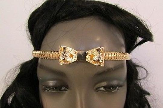 Other Women Head Chains Jewelry Elastic Band Forehead Gold Metal Bow