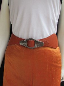 Alwaystyle4you Women Waist Hip Orange Elastic Belt Silver Moroccan Buckle 27-34