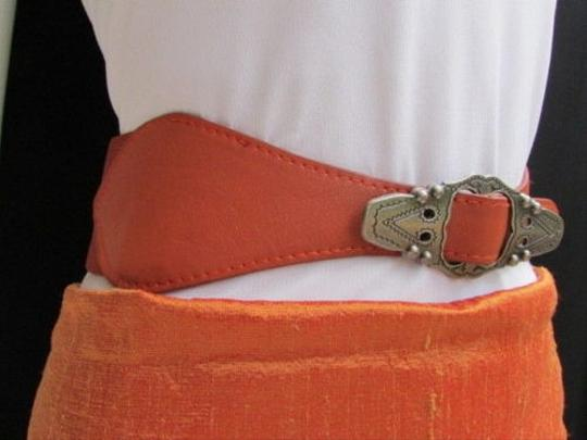 Other Women Waist Hip Orange Elastic Fashion Belt Silver Moroccan Buckle 27-34