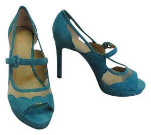 Suede Lether Turquoise/Blue Platforms