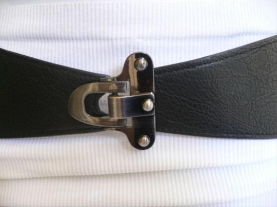 Other Women Belt Fashion Waist Hip Elastic Black Pewter Hook Buckle 29-38
