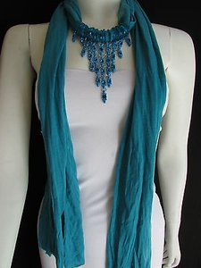 Women Blue Fabric Scarf Fashion Necklace Blue Metal Beads Tassle Pendant