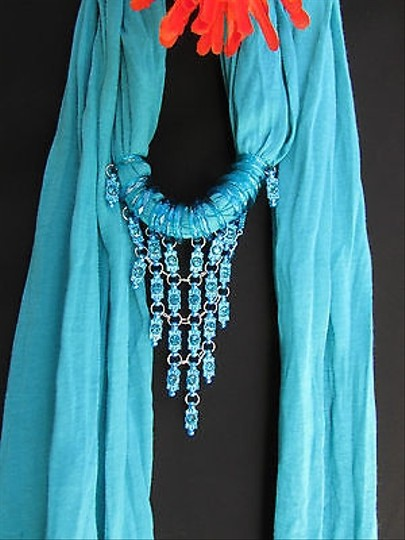 Other Women Blue Fabric Scarf Fashion Necklace Blue Metal Beads Tassle Pendant