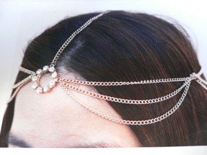 Women Head Metal Chain Fashion Gold Jewelry Grecian Circlet Rhinestones Ring